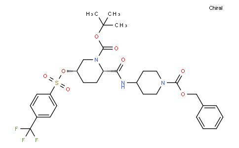 tert-butyl(2S,5S)-2-((1-((benzyloxy)carbonyl)piperidin-4-yl)carbamoyl)-5-(((4-(trifluoromethyl)phenyl)sulfonyl)oxy)piperidine-1-carboxylate